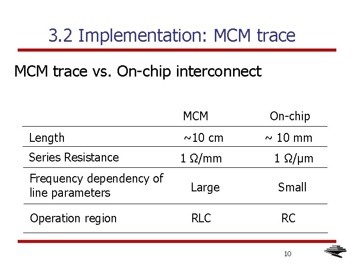 3. 2 Implementation: MCM trace vs. On-chip interconnect MCM Length Series Resistance On-chip ~10