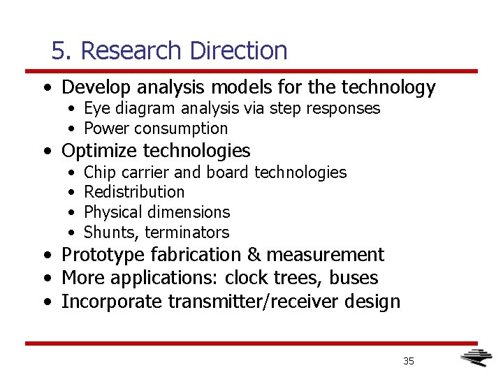5. Research Direction • Develop analysis models for the technology • Eye diagram analysis