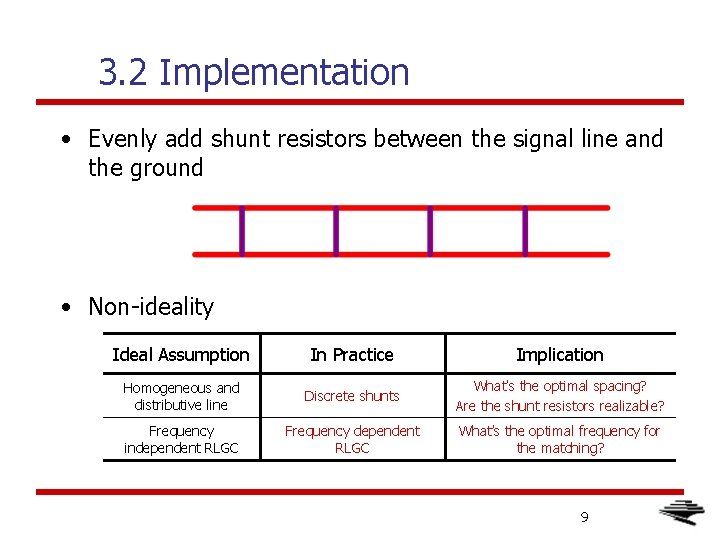 3. 2 Implementation • Evenly add shunt resistors between the signal line and the