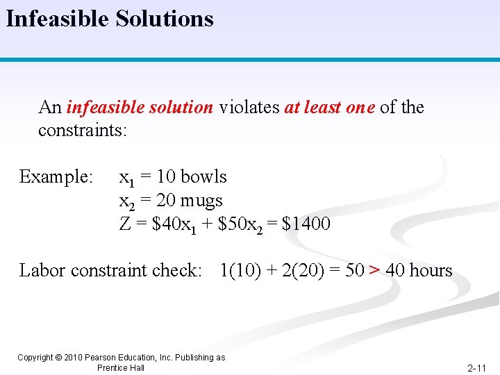 Infeasible Solutions An infeasible solution violates at least one of the constraints: Example: x
