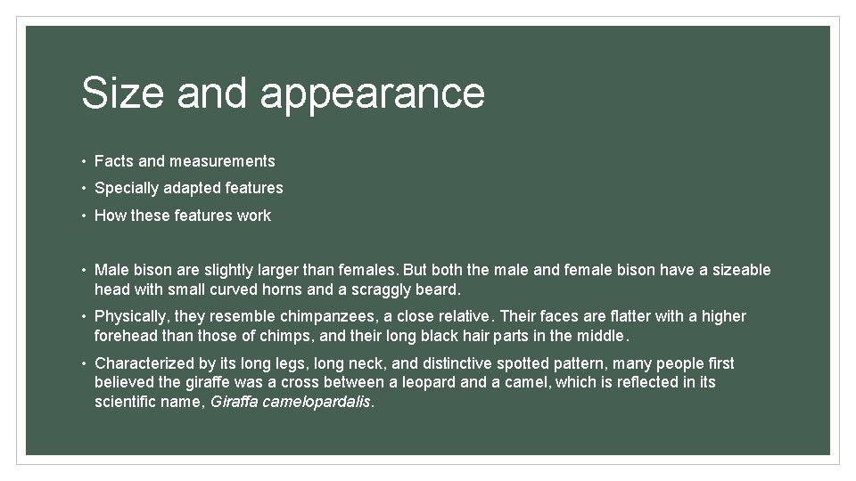 Size and appearance • Facts and measurements • Specially adapted features • How these