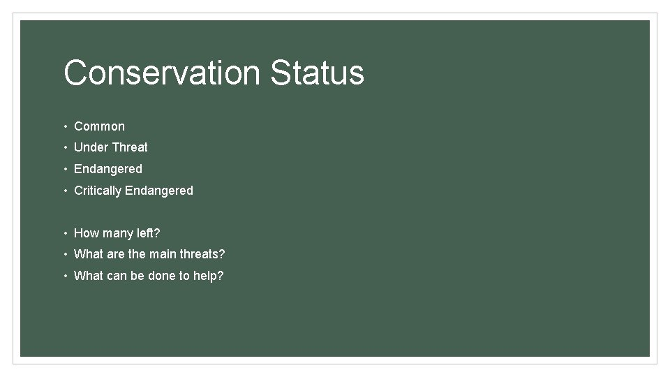 Conservation Status • Common • Under Threat • Endangered • Critically Endangered • How