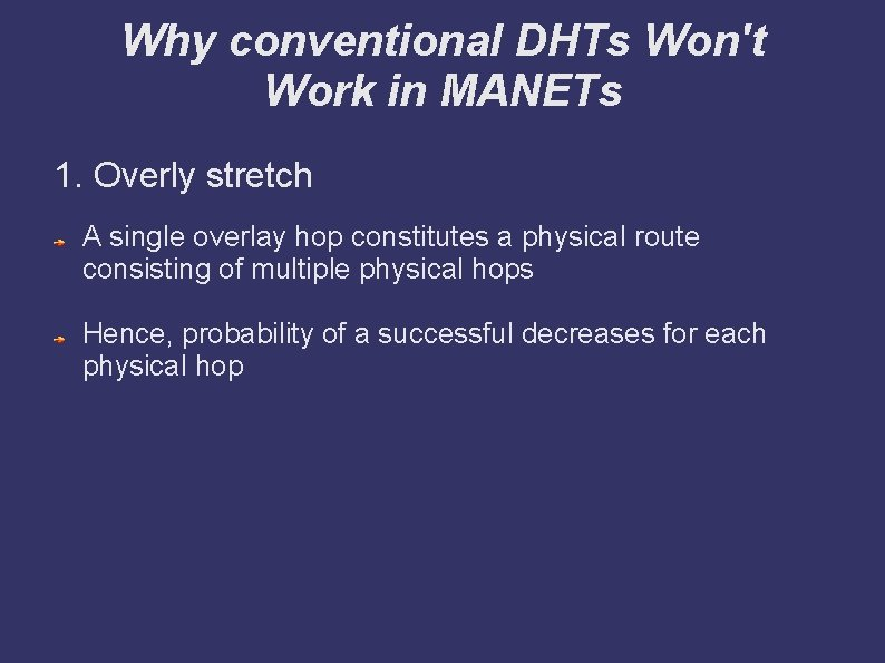 Why conventional DHTs Won't Work in MANETs 1. Overly stretch A single overlay hop