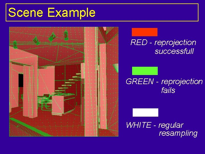 Scene Example RED - reprojection successfull GREEN - reprojection fails WHITE - regular resampling