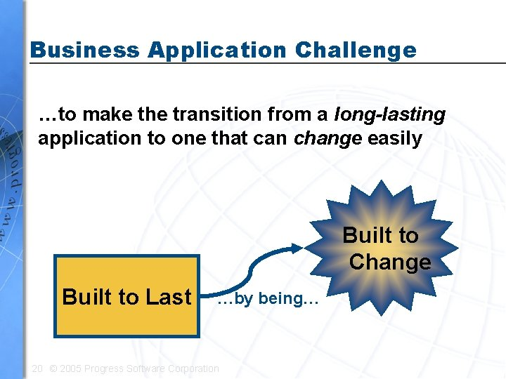 Business Application Challenge …to make the transition from a long-lasting application to one that