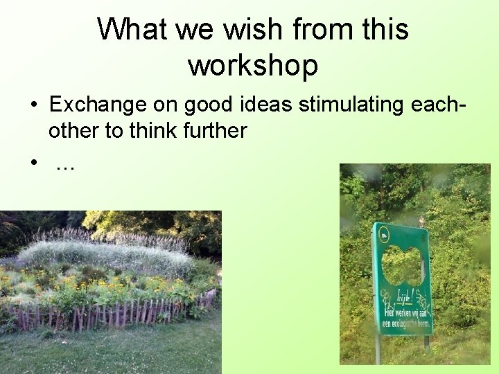 What we wish from this workshop • Exchange on good ideas stimulating eachother to