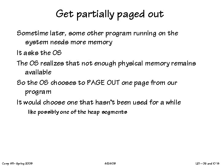 Get partially paged out Sometime later, some other program running on the system needs
