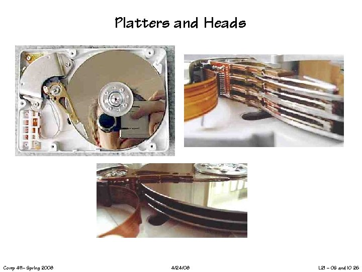 Platters and Heads Comp 411– Spring 2008 4/24/08 L 21 – OS and IO