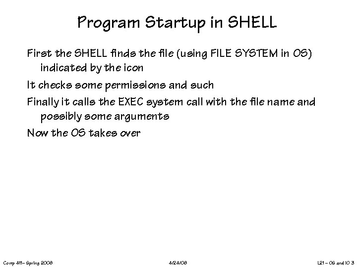 Program Startup in SHELL First the SHELL finds the file (using FILE SYSTEM in