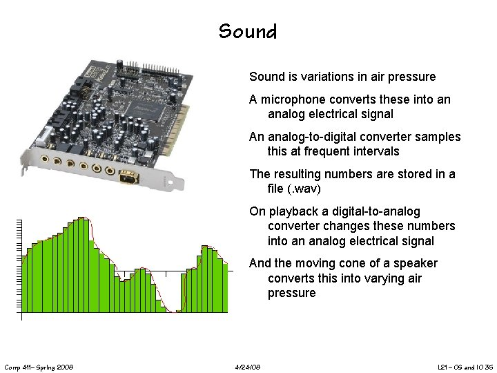 Sound is variations in air pressure A microphone converts these into an analog electrical