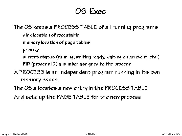 OS Exec The OS keeps a PROCESS TABLE of all running programs disk location