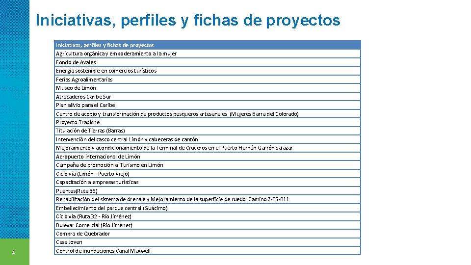Iniciativas, perfiles y fichas de proyectos 4 Iniciativas, perfiles y fichas de proyectos Agricultura