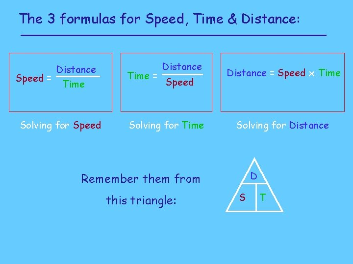 The 3 formulas for Speed, Time & Distance: Distance Speed = Time Solving for