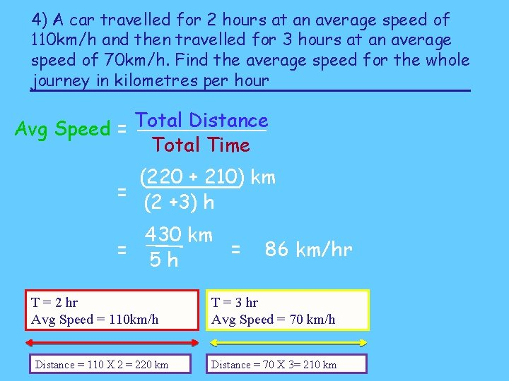 4) A car travelled for 2 hours at an average speed of 110 km/h
