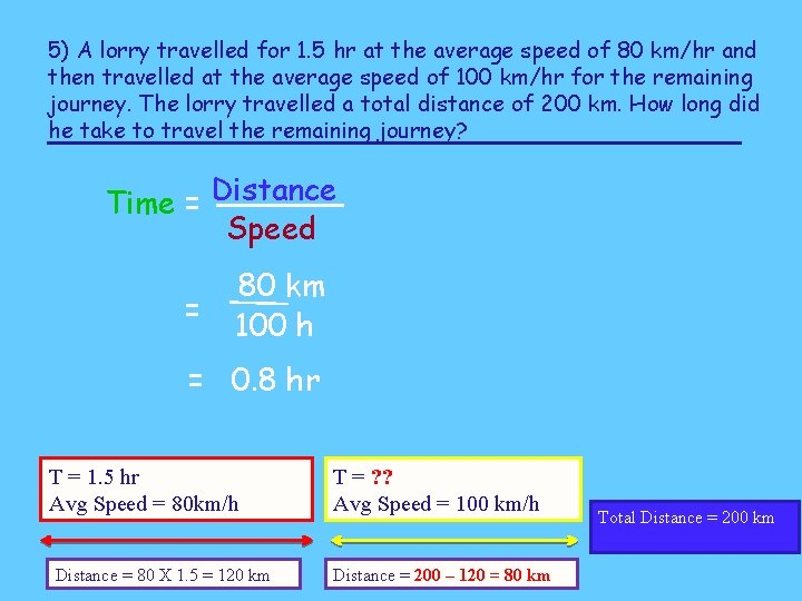 5) A lorry travelled for 1. 5 hr at the average speed of 80