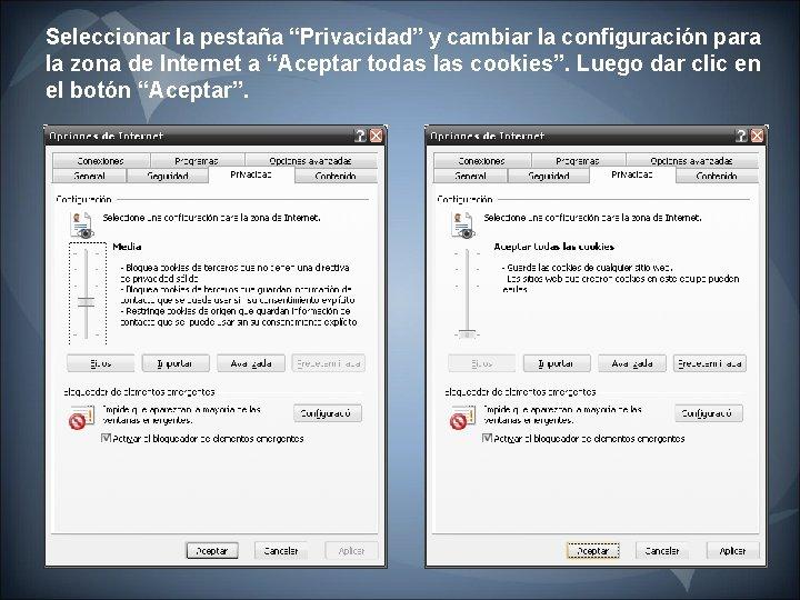 """Seleccionar la pestaña """"Privacidad"""" y cambiar la configuración para la zona de Internet a"""