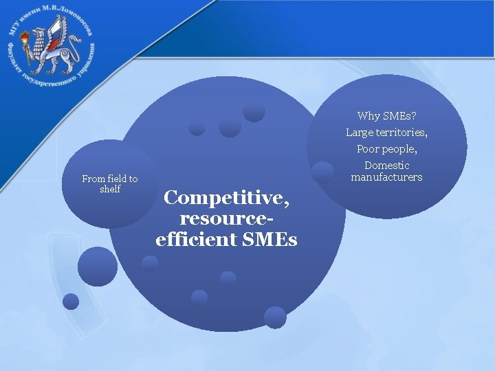 Why SMEs? Large territories, From field to shelf Poor people, Domestic manufacturers Competitive, resourceefficient