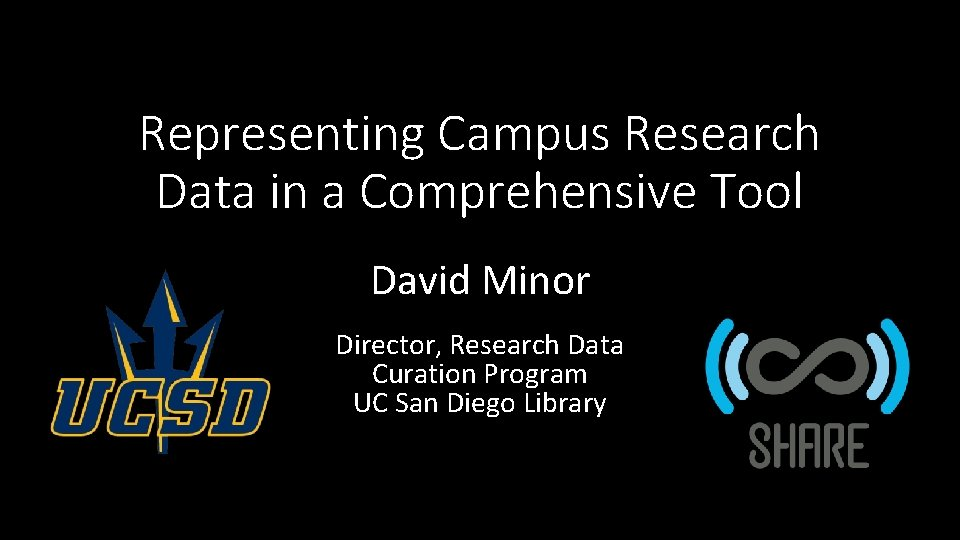 Representing Campus Research Data in a Comprehensive Tool David Minor Director, Research Data Curation