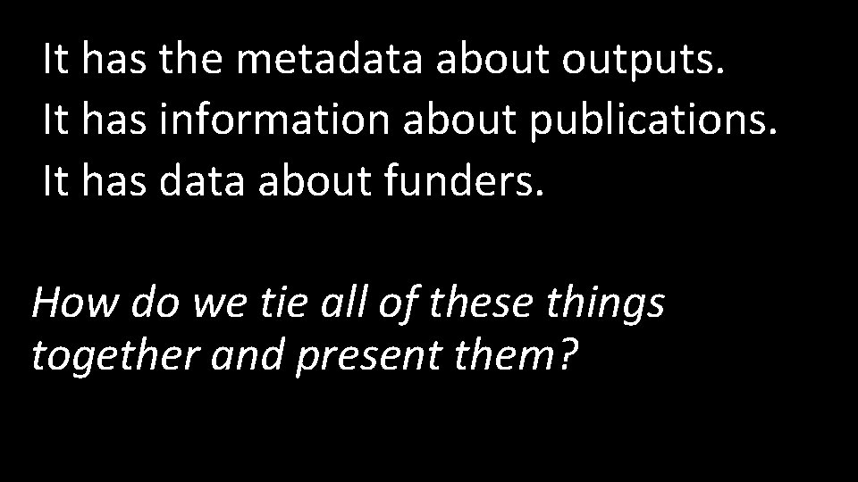 It has the metadata about outputs. It has information about publications. It has data