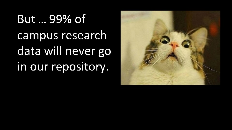 But … 99% of campus research data will never go in our repository.