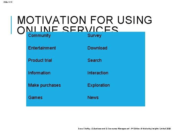 Slide 4. 13 MOTIVATION FOR USING ONLINE SERVICES Community Survey Entertainment Download Product trial