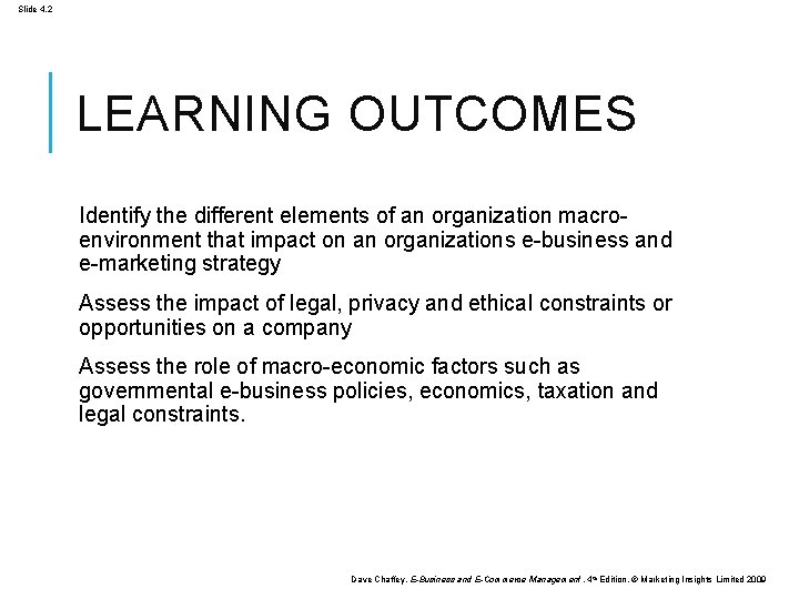 Slide 4. 2 LEARNING OUTCOMES Identify the different elements of an organization macroenvironment that