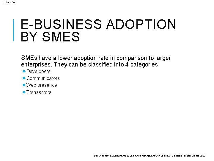 Slide 4. 20 E-BUSINESS ADOPTION BY SMES SMEs have a lower adoption rate in