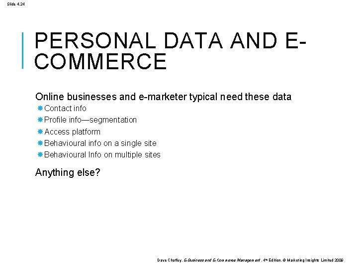 Slide 4. 24 PERSONAL DATA AND ECOMMERCE Online businesses and e-marketer typical need these