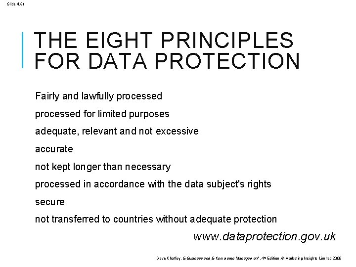 Slide 4. 31 THE EIGHT PRINCIPLES FOR DATA PROTECTION Fairly and lawfully processed for