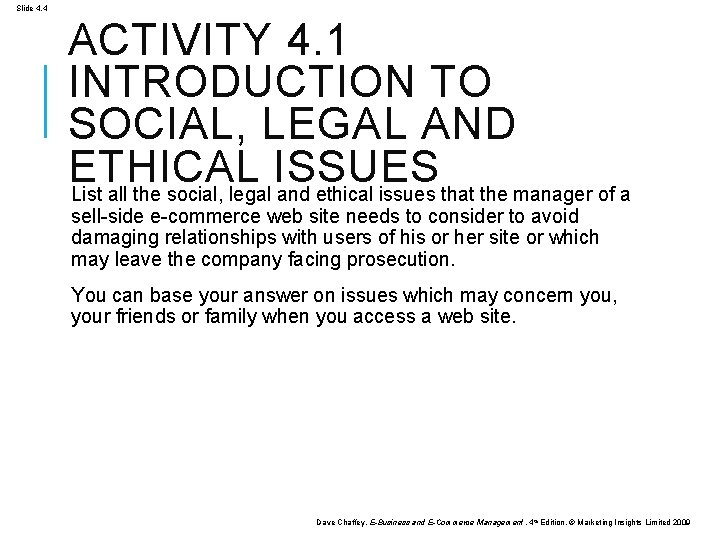 Slide 4. 4 ACTIVITY 4. 1 INTRODUCTION TO SOCIAL, LEGAL AND ETHICAL ISSUES List