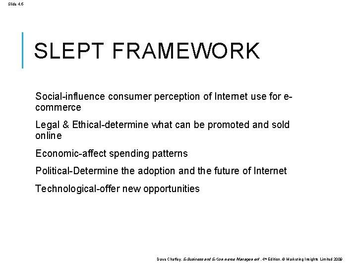 Slide 4. 5 SLEPT FRAMEWORK Social-influence consumer perception of Internet use for ecommerce Legal