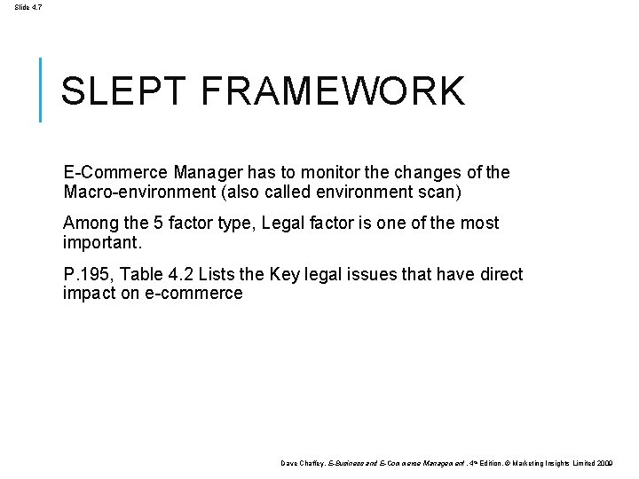 Slide 4. 7 SLEPT FRAMEWORK E-Commerce Manager has to monitor the changes of the