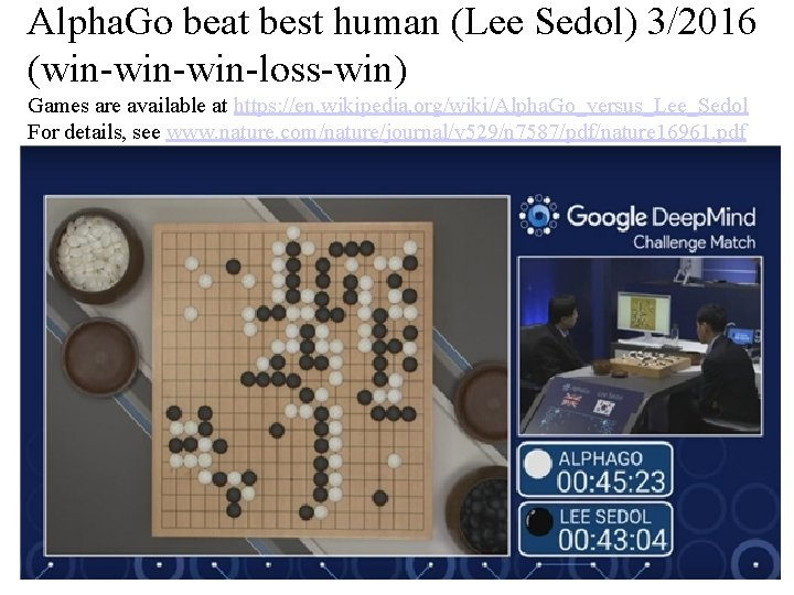 Alpha. Go beat best human (Lee Sedol) 3/2016 (win-win-loss-win) Games are available at https: