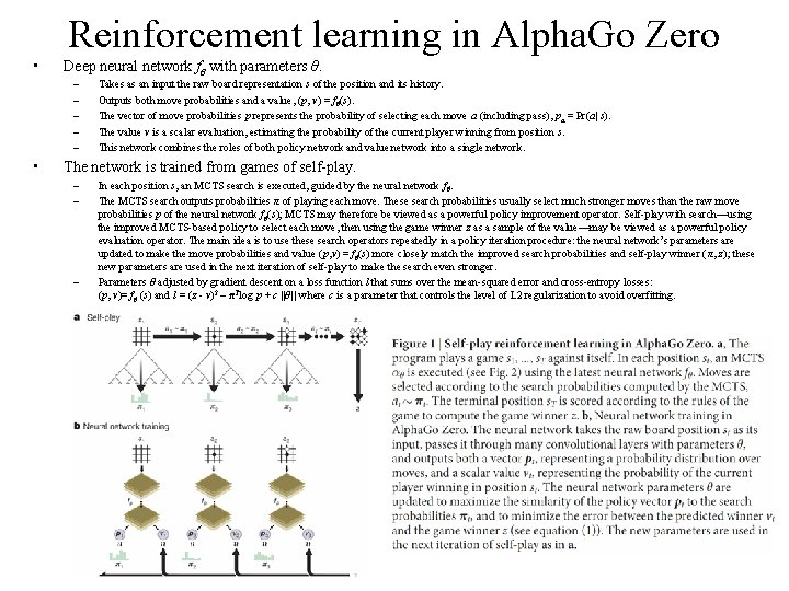 Reinforcement learning in Alpha. Go Zero • Deep neural network fθ with parameters θ.