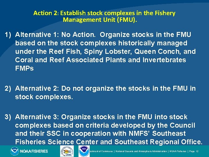 Action 2: Establish stock complexes in the Fishery Management Unit (FMU). 1) Alternative 1: