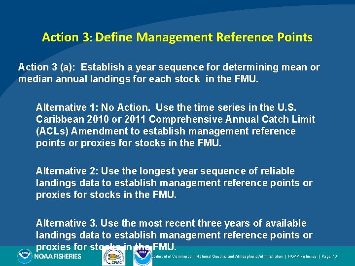 Action 3: Define Management Reference Points Action 3 (a): Establish a year sequence for
