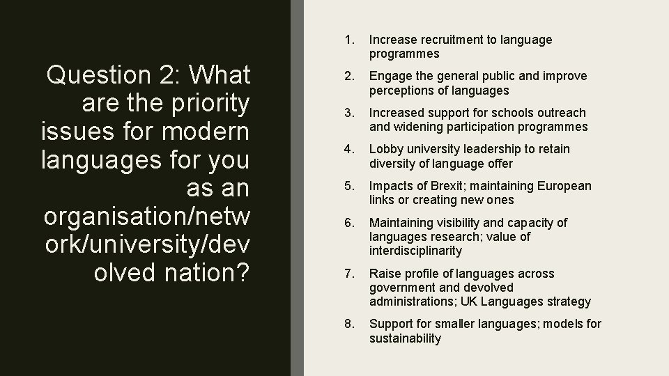 Question 2: What are the priority issues for modern languages for you as an
