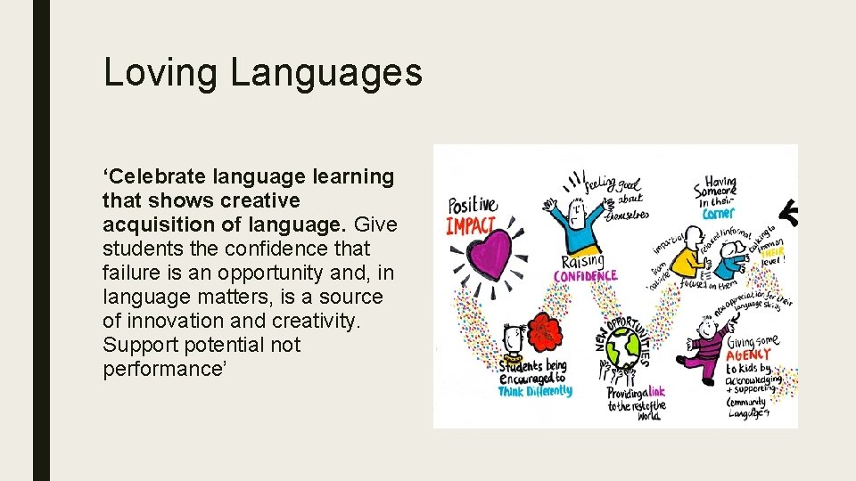 Loving Languages 'Celebrate language learning that shows creative acquisition of language. Give students the