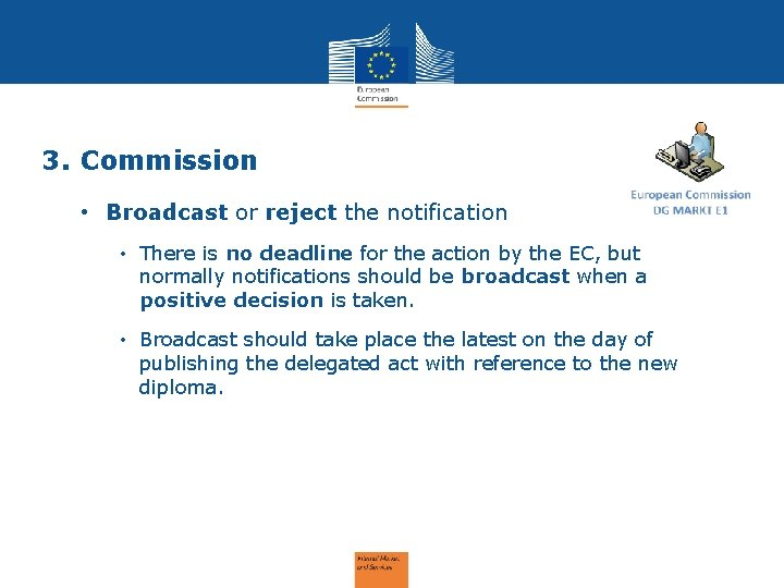 3. Commission • Broadcast or reject the notification • There is no deadline for