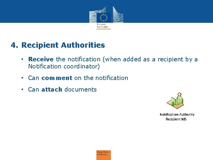 4. Recipient Authorities • Receive the notification (when added as a recipient by a