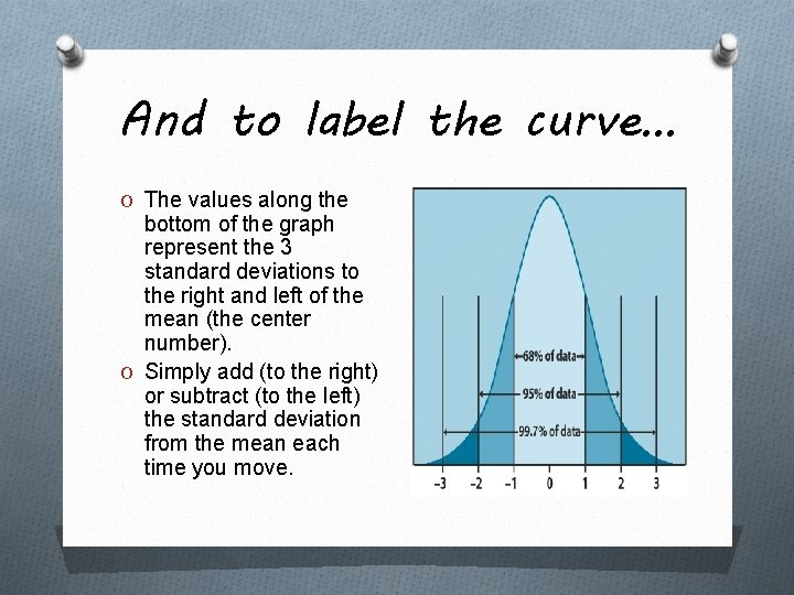 And to label the curve… O The values along the bottom of the graph