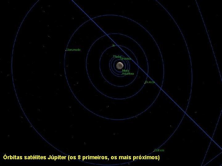 Órbitas satélites Júpiter (os 8 primeiros, os mais próximos)