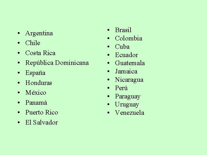 • • • Argentina Chile Costa Rica República Dominicana España Honduras México Panamá