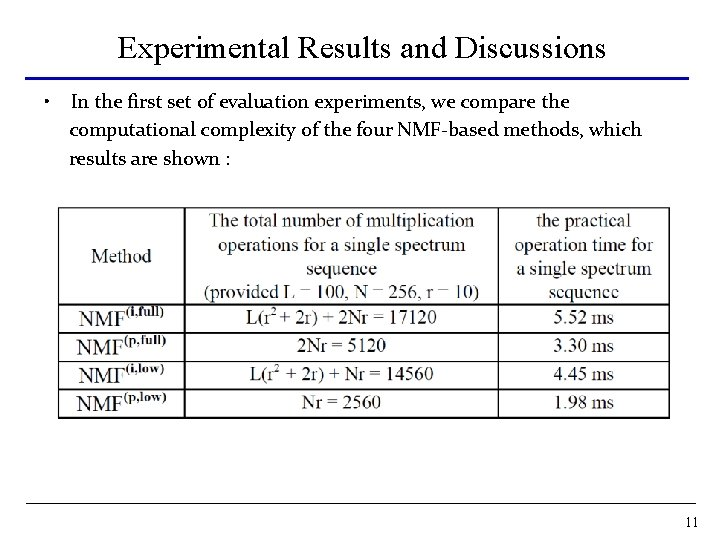 Experimental Results and Discussions • In the first set of evaluation experiments, we compare