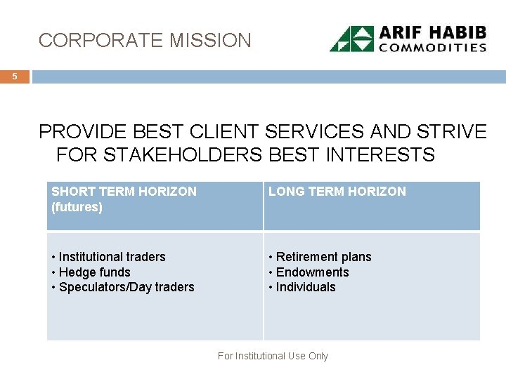 CORPORATE MISSION 5 PROVIDE BEST CLIENT SERVICES AND STRIVE FOR STAKEHOLDERS BEST INTERESTS SHORT