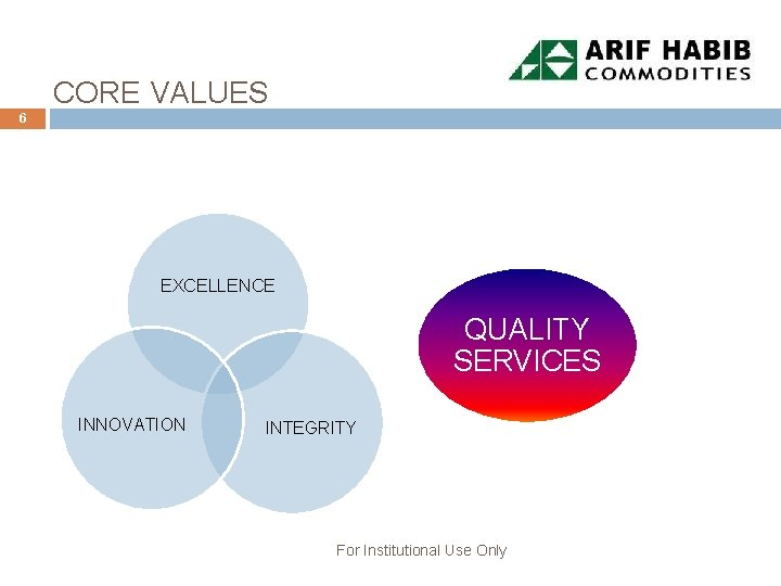 CORE VALUES 6 EXCELLENCE QUALITY SERVICES INNOVATION INTEGRITY For Institutional Use Only