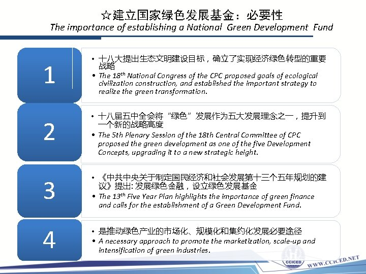 ☆建立国家绿色发展基金:必要性 The importance of establishing a National Green Development Fund 1 2 3 4