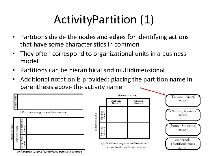 Activity. Partition (1) • Partitions divide the nodes and edges for identifying actions that