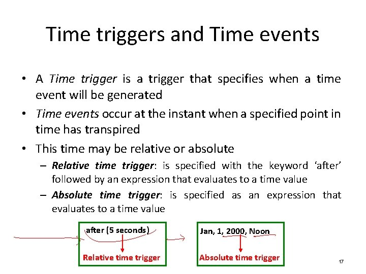 Time triggers and Time events • A Time trigger is a trigger that specifies
