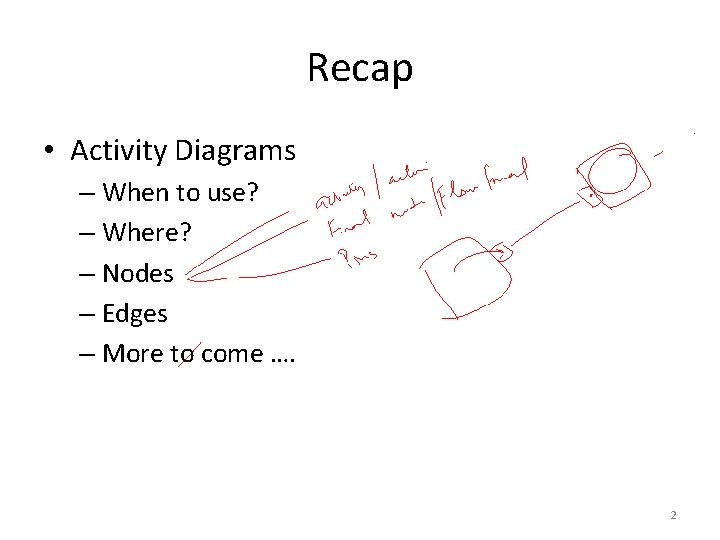 Recap • Activity Diagrams – When to use? – Where? – Nodes – Edges